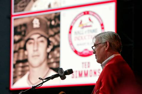 FILE - In this Aug. 15, 2015 file photo former Cardinals catcher Ted Simmons delivers his speec ...
