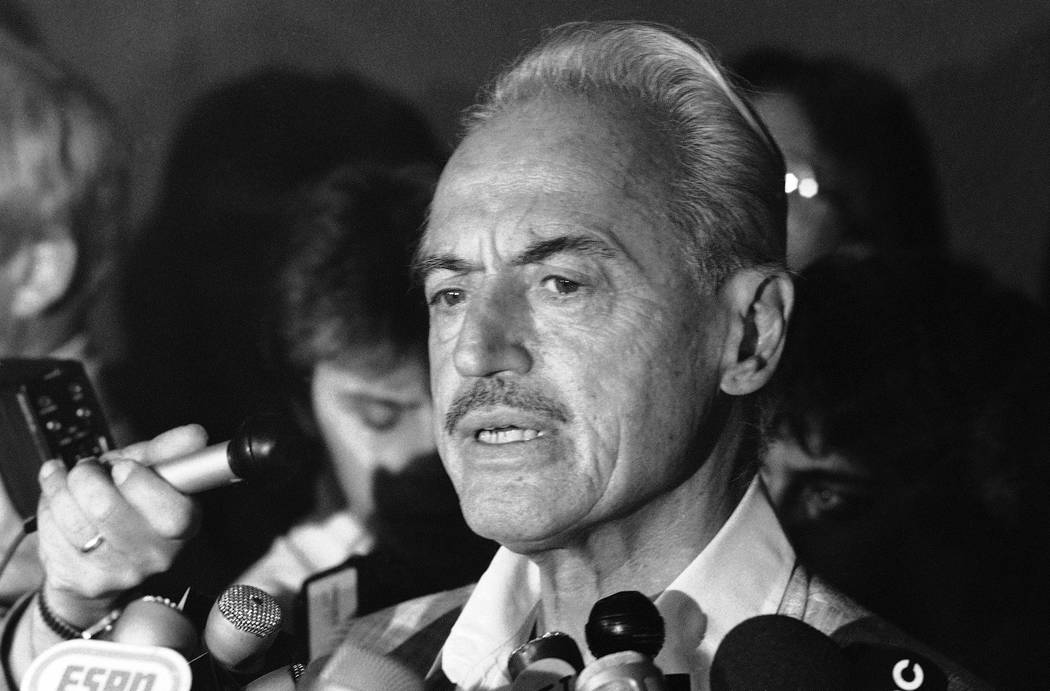 FILE - This July 16, 1981 file photo shows baseball union leader Marvin Miller speaking to repo ...