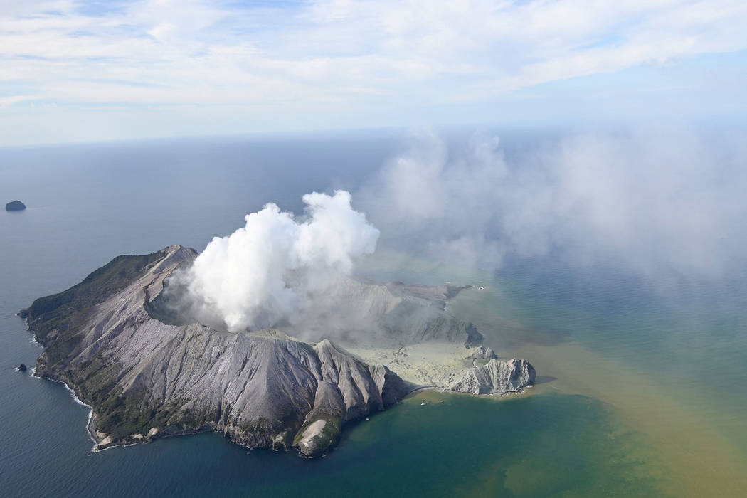 This aerial photo shows White Island after its volcanic eruption in New Zealand Monday, Dec. 9, ...