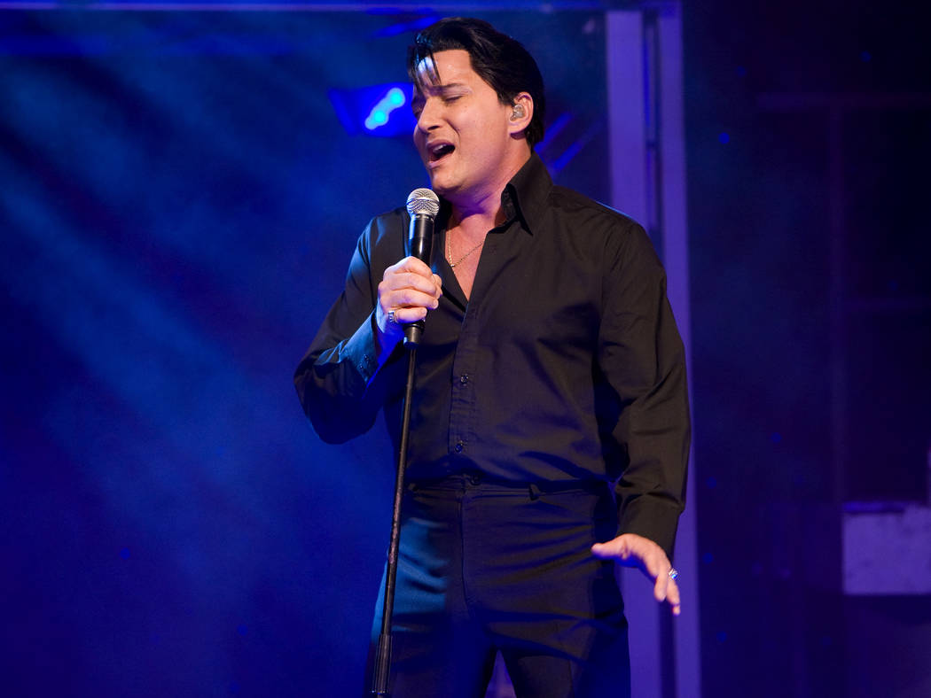 """Elvis Presley tribute artist Trent Carlini performs in his """"The King"""" show in the Shimmer Cabar ..."""