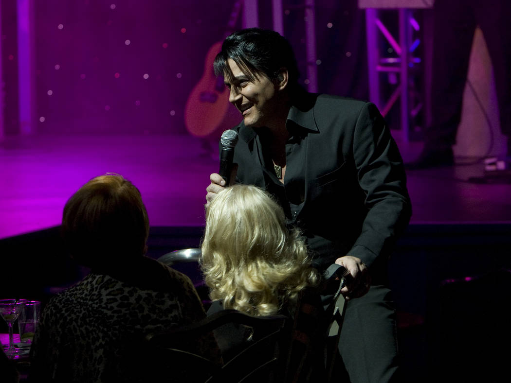 "Elvis Presley tribute artist Trent Carlini performs in his ""The King"" show in the Shimmer Cabar ..."