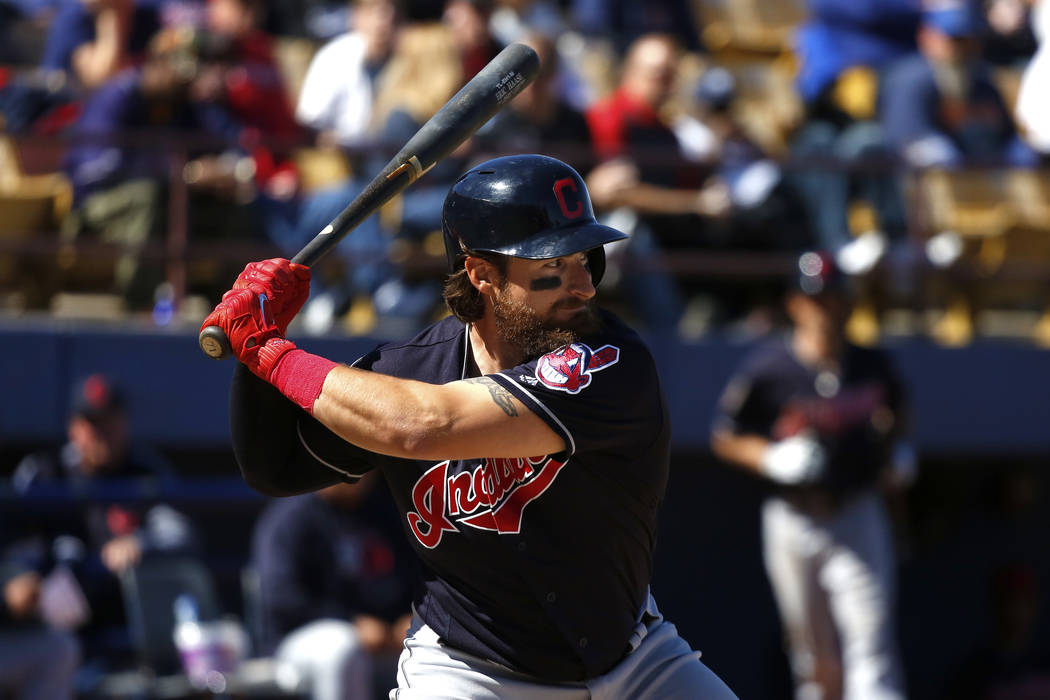 Cleveland Indians' Eric Haase (71) prepares to bat during the annual Big League Weekend basebal ...
