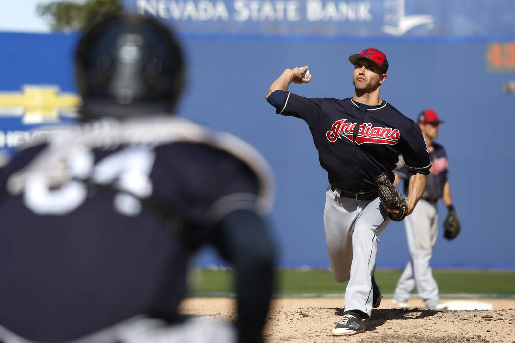 Cleveland Indians' Carlos Torres (57) pitches during the annual Big League Weekend baseball gam ...