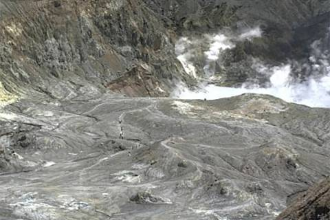 In this image released by GeoNet, tourists can be seen on a trail near the volcano's crater Mon ...