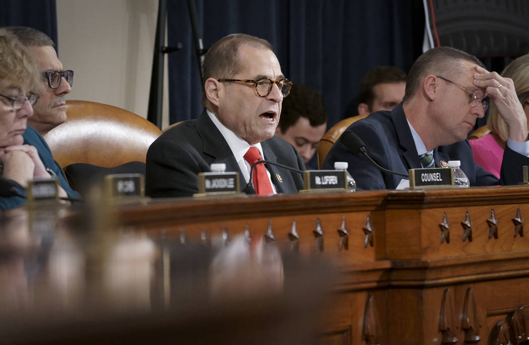 House Judiciary Committee Chairman Jerrold Nadler, D-N.Y., joined at right by Rep. Doug Collins ...