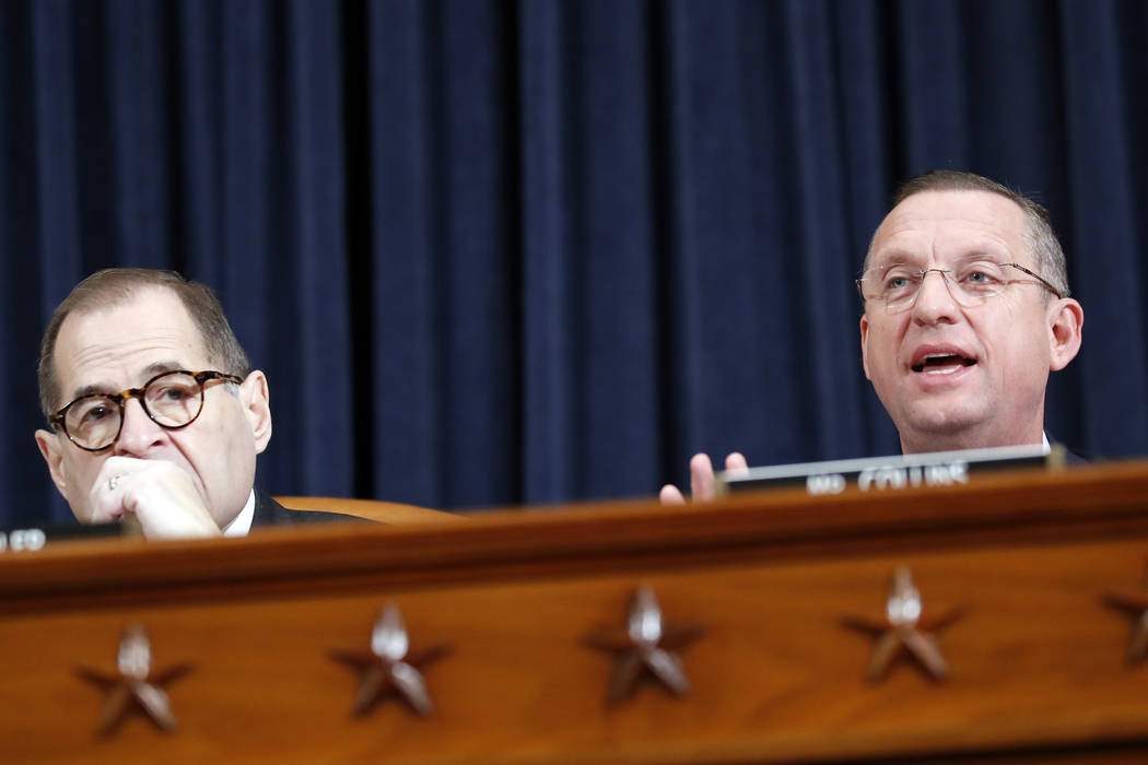 House Judiciary Committee Chairman Rep. Jerrold Nadler, D-N.Y., left, listens as ranking member ...