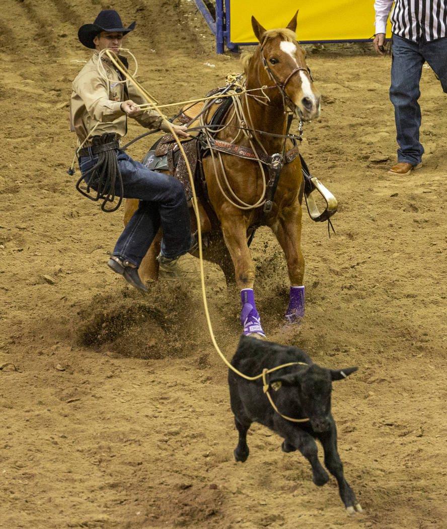 Shane Hanchey of Sulphur, La., looks to his calf before scoring a time of 7.50 seconds and a fi ...