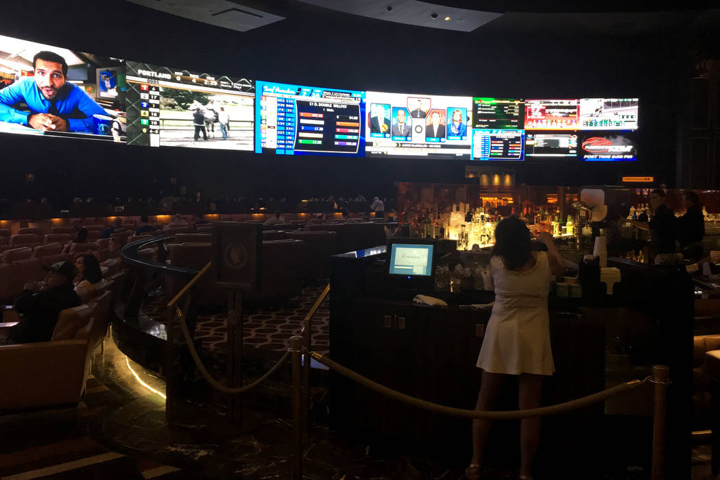 The sports book at Caesars Palace, shown Monday afternoon. (John Katsilometes/Las Vegas Review- ...