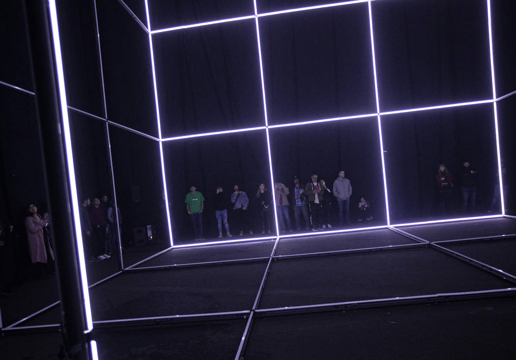 A cube made of lights was one of the art installations at Intersect Festival on Friday, Dec. 6, ...