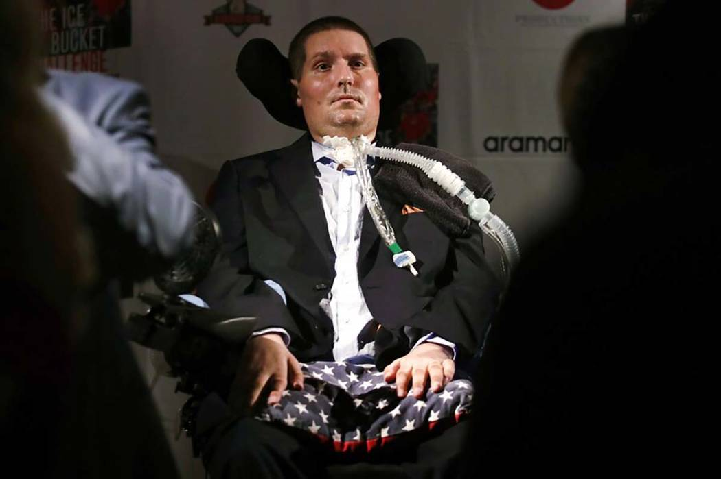 FILE - In this Sept. 18, 2017 photo, Pete Frates, who is stricken with amyotrophic lateral scle ...