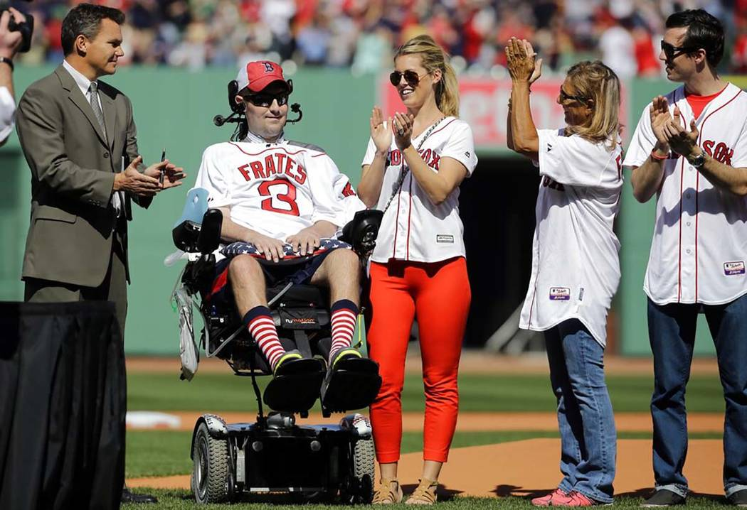FILE - In this April 13, 2015, file photo, Pete Frates, former Boston College baseball player w ...