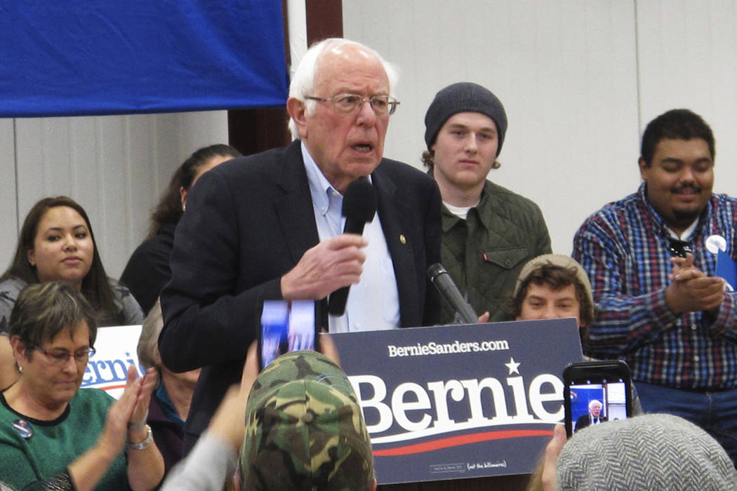 Democratic presidential hopeful Bernie Sanders speaks before about 200 people at a rally at a c ...