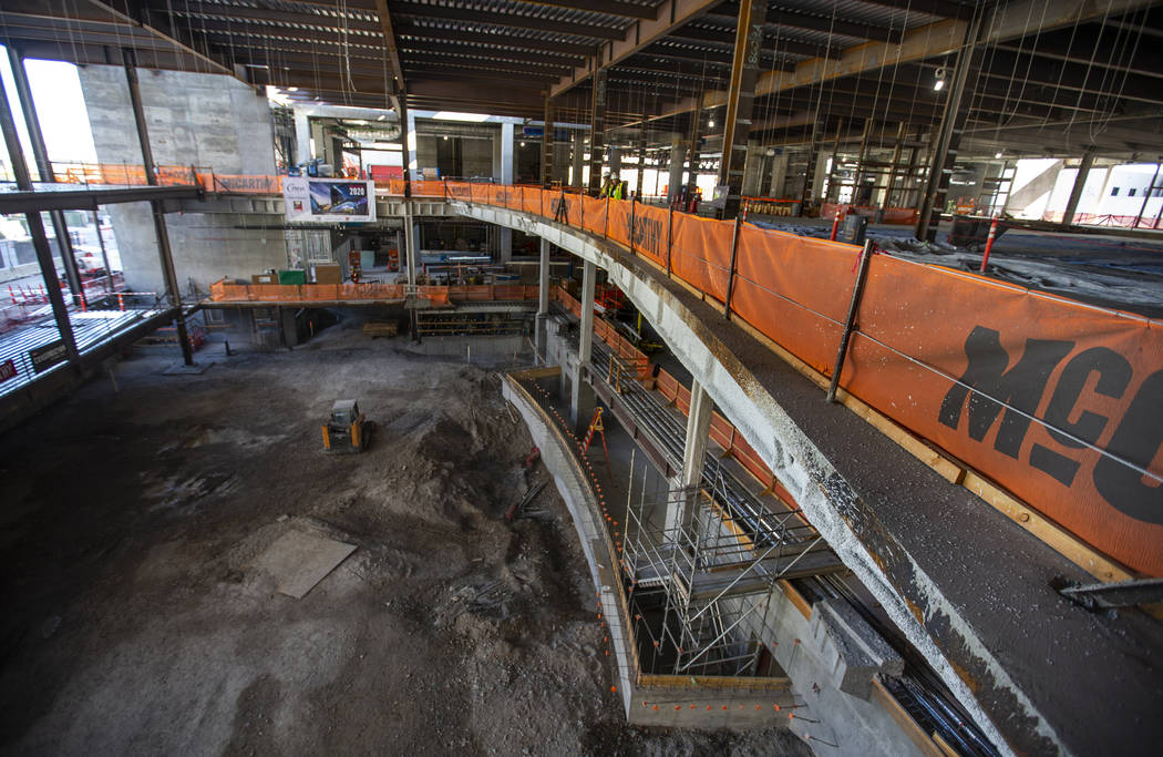 The interior is slowly being developed during a construction tour of the Circa on Monday, Dec. ...