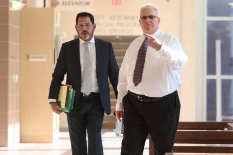 Jered Pace, right, a NLV bailiff accused of soliciting a teenage boy for prostitution, and his ...