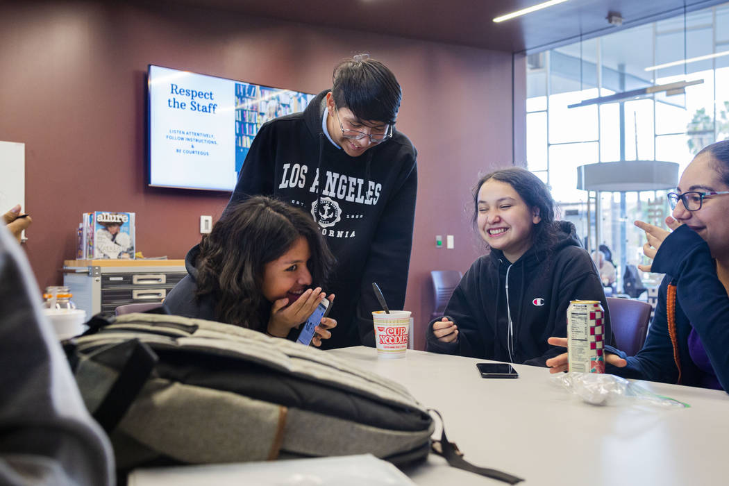 Martin Middle School students hangout in the East Las Vegas Library's Teen Sphere room in Las V ...