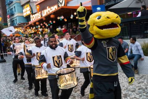 Golden Knights mascot Chance participates in a pregame parade at The Park outside of the New Yo ...
