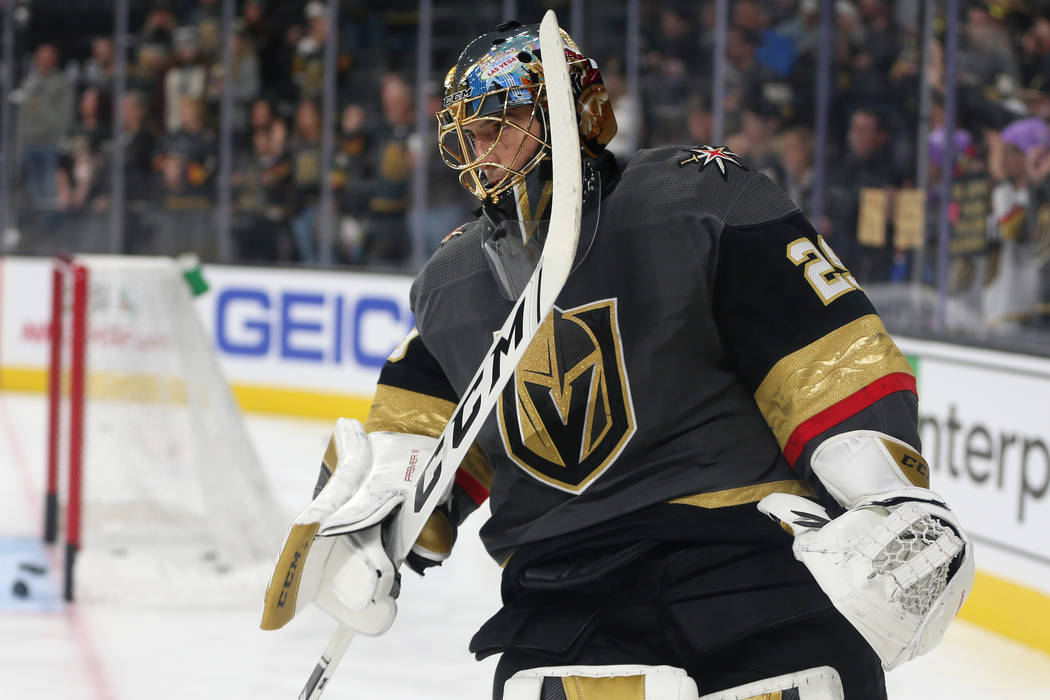 Vegas Golden Knights goaltender Marc-Andre Fleury (29) during warmups before their NHL hockey g ...