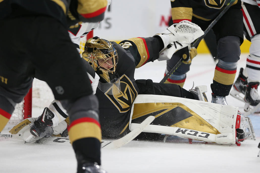Vegas Golden Knights goaltender Marc-Andre Fleury (29) defends a shot from the Chicago Blackhaw ...