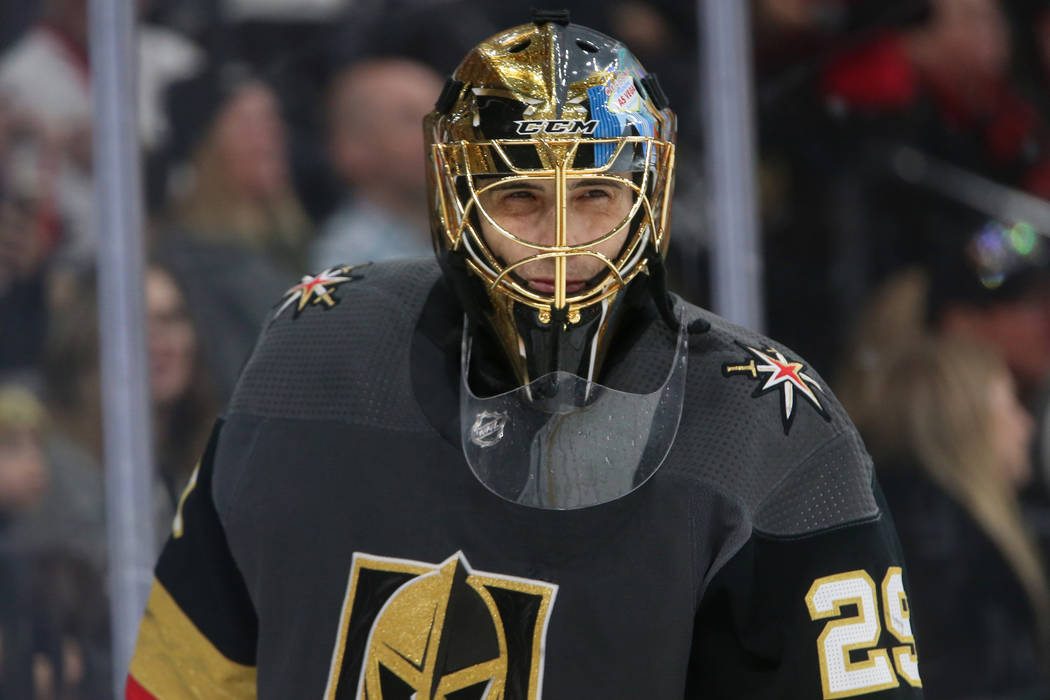 Vegas Golden Knights goaltender Marc-Andre Fleury (29) waits for play to resume in the second p ...