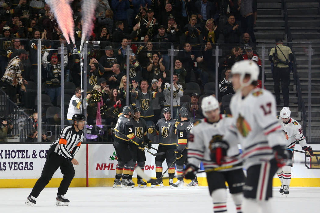 Vegas Golden Knights celebrates a score by center William Karlsson (71) in the second period du ...