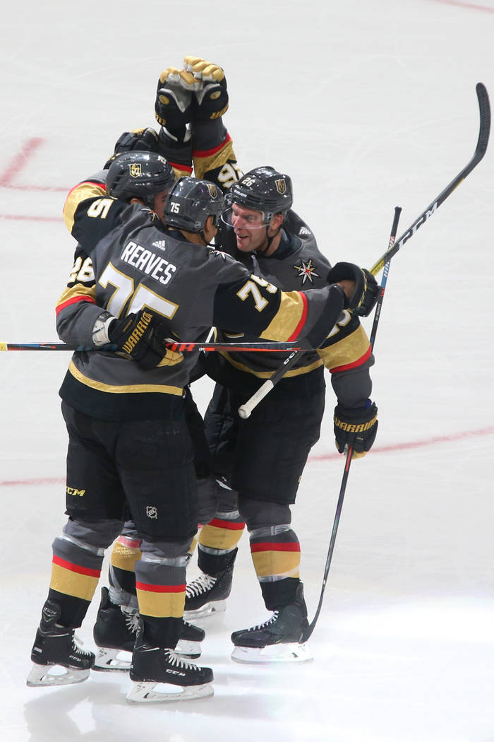 Vegas Golden Knights right wing Ryan Reaves (75) celebrates his score against the Chicago Black ...