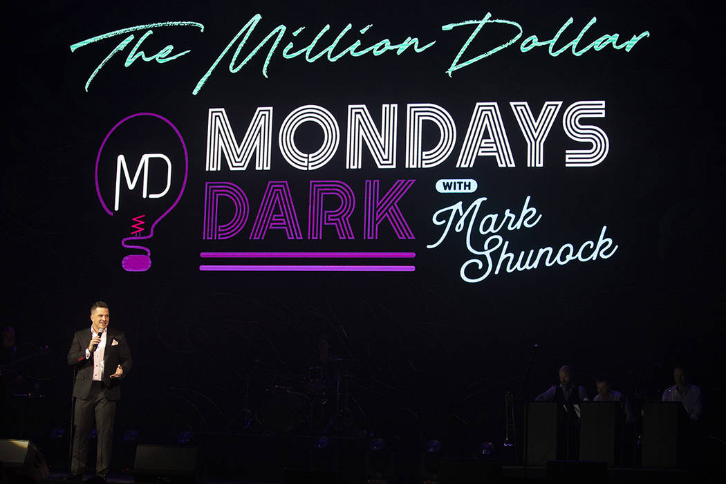Mark Shunock, creator of Mondays Dark, speaks to the crowd in The Pearl Concert Theater on Mond ...