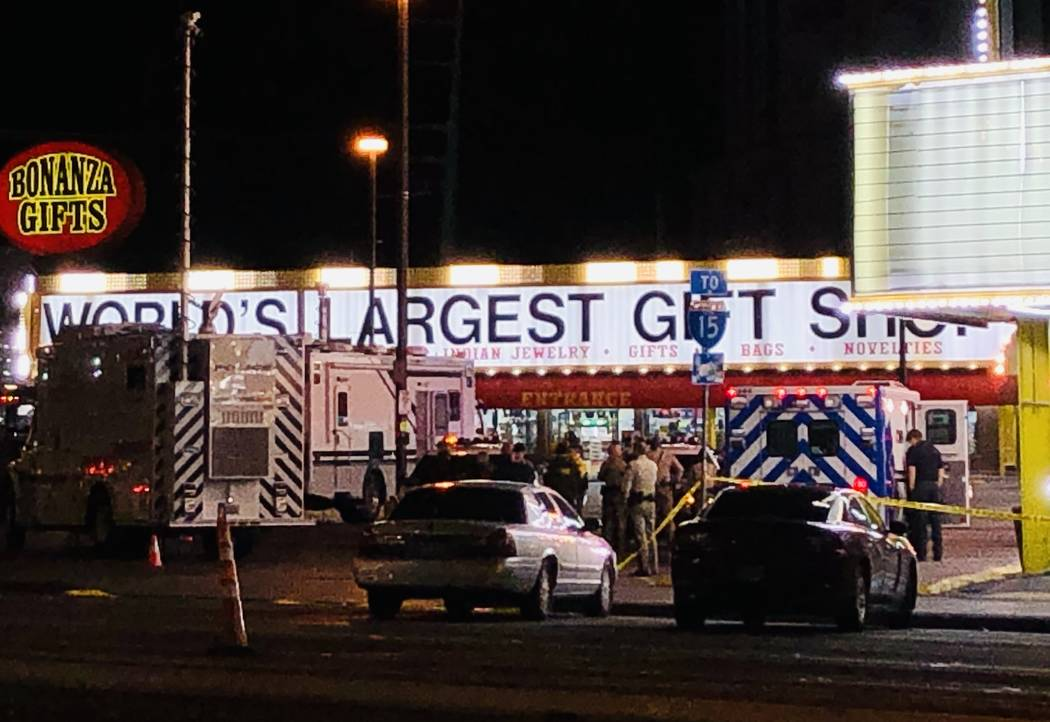 A barricade situation at Bonanza Gift Shop on Monday, Dec. 9, 2019, has forced the closure of L ...