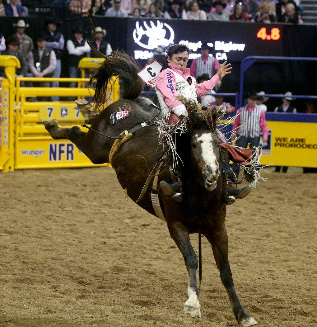 Clayton Biglow rides Scarlett Belle during Bareback Riding in the fifth go-around of the Wrangl ...