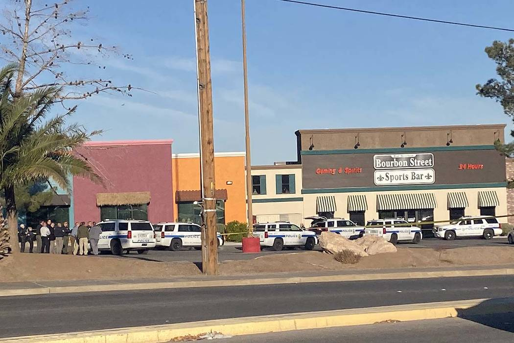 Henderson police shot and wounded a man armed with a knife at Bourbon Street Sports Bar at Majo ...
