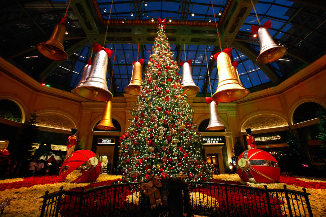 Decorations are seen after the Christmas tree lighting at the Bellagio Conservatory and Botanic ...