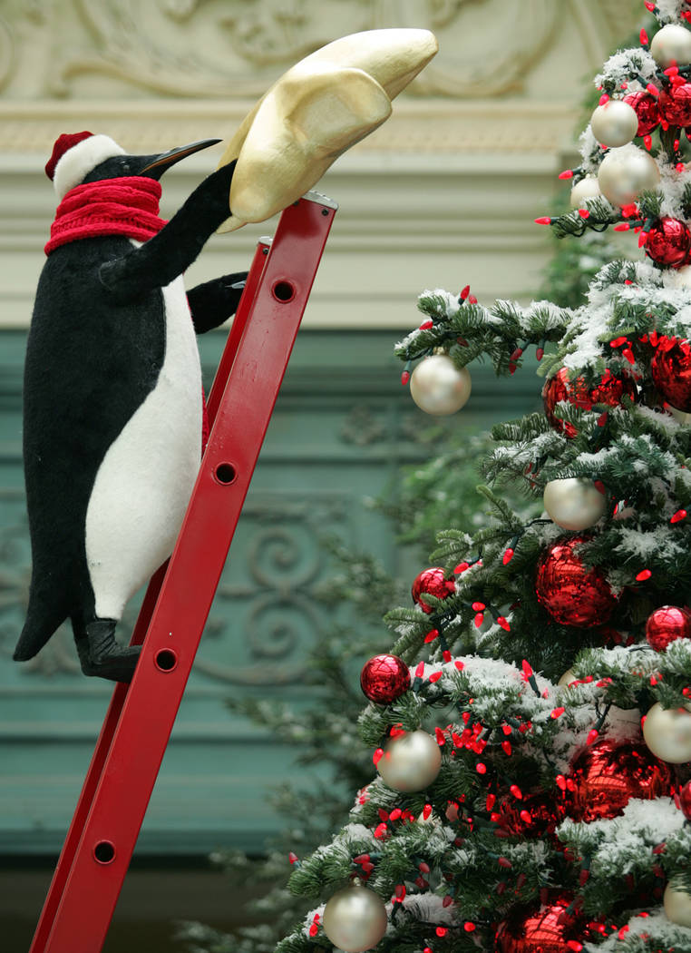 An animatronic Emperor penguin appears to reach out to add a star to a Christmas tree as part o ...