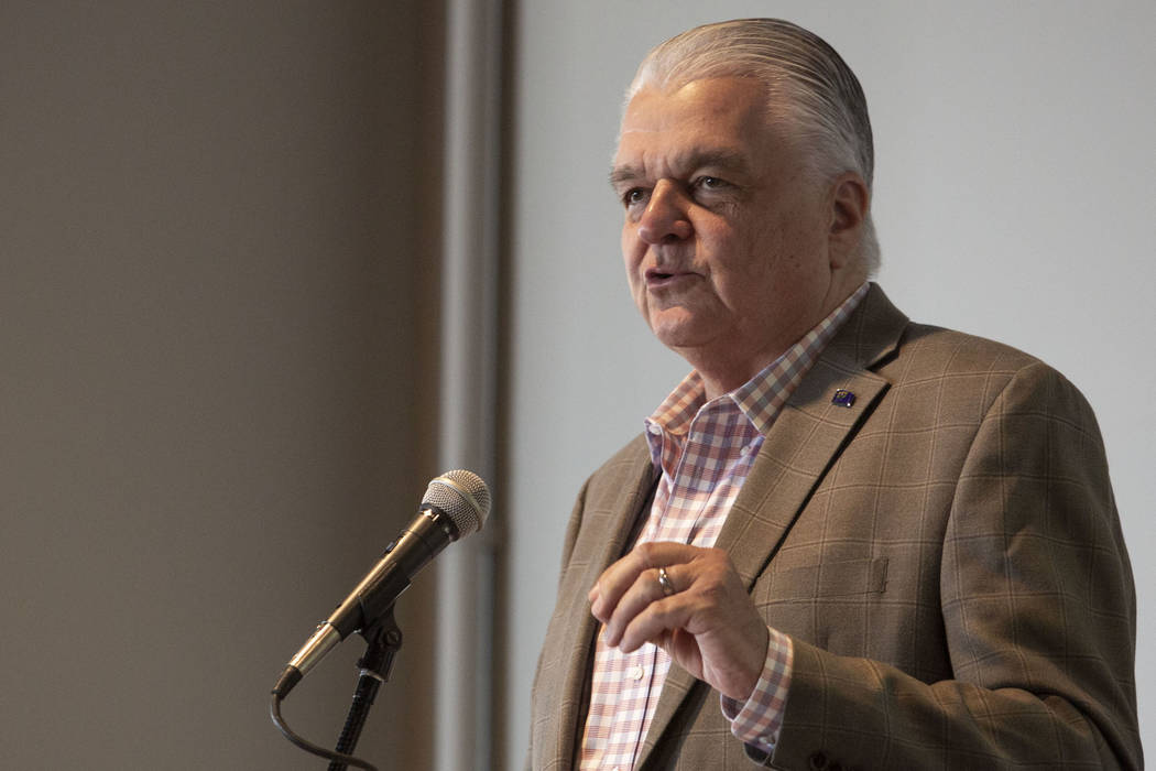 Gov. Steve Sisolak, seen in this file photo from Aug., 2019, panned requests by Nye and Lincoln ...