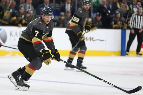 Vegas Golden Knights forward Valentin Zykov (7) looks for the puck in the first period during t ...