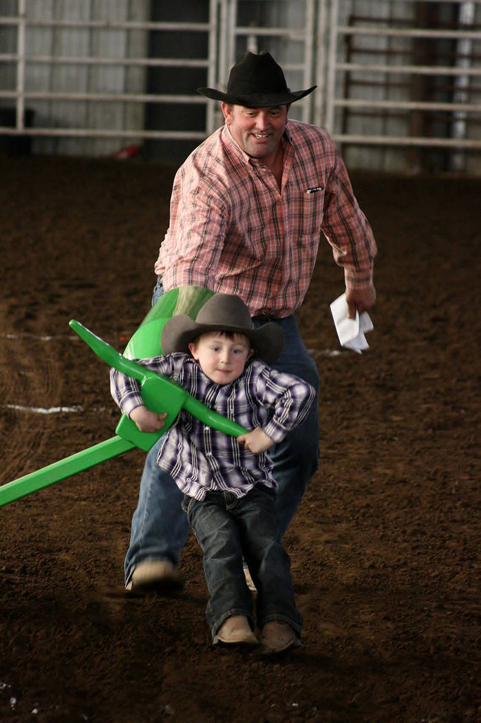 Max Henderson with his father learning how to steer wrestle on March 10, 2918. Max died practic ...