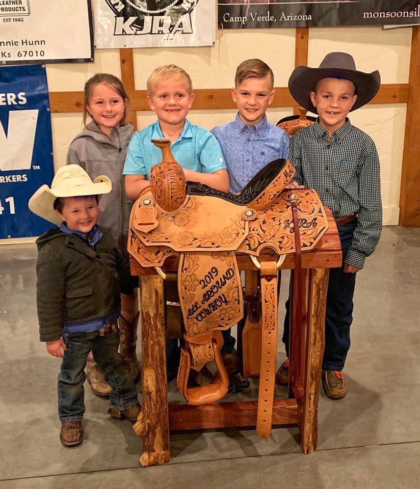 Max Henderson's friends, from left, John Wayne Camac, Clara Camac, Weston Lowe, Easton Johnson ...