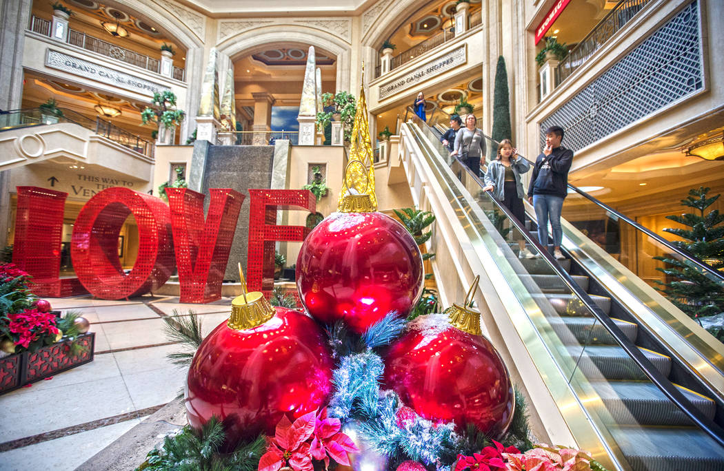 Holiday decorations at the waterfall atrium on Tuesday, Dec. 10, 2019, at The Venetian, in Las ...