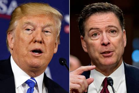 This combination photo shows President Donald Trump and former FBI director James Comey. (AP Ph ...