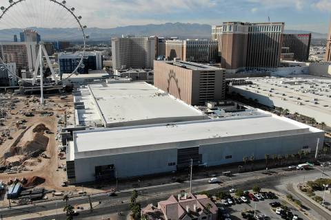 An aerial view of the 550,000 sq. ft. Caesars Forum conference center on Wednesday, November 6, ...