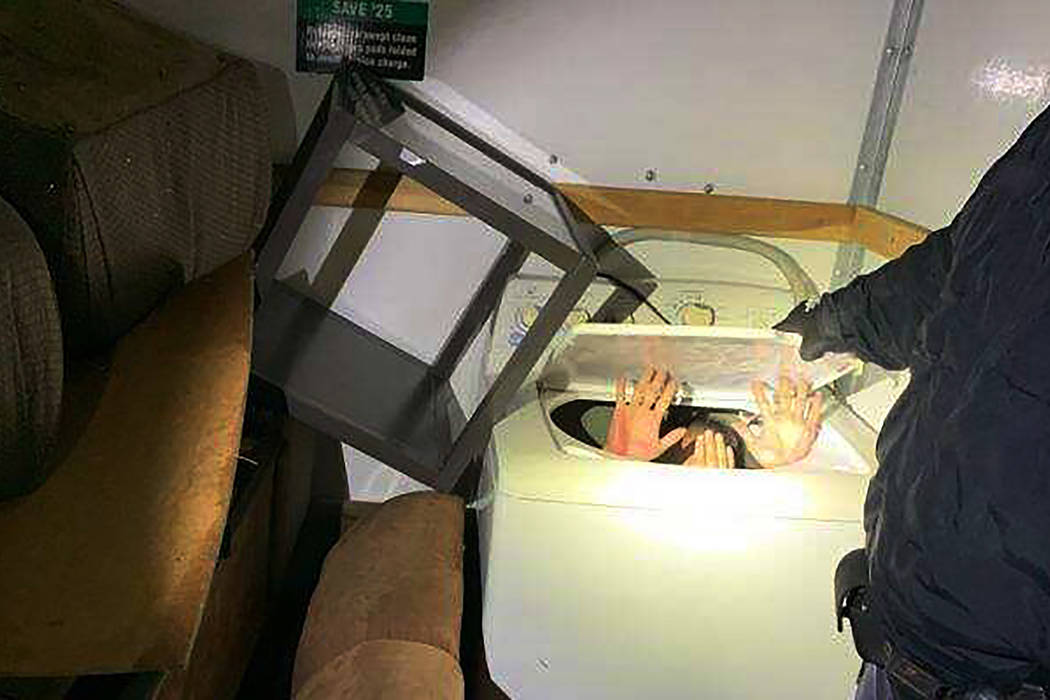 This photo released Monday, Dec. 9, 2019 by U.S. Customs and Border Protection (CBP) shows hand ...