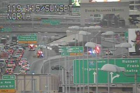 Northbound Interstate 15 near Russell Road is closed because of police activity Tuesday, Dec. 1 ...