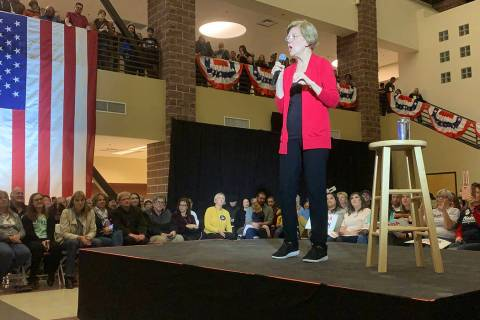 Presidential hopeful Sen. Elizabeth Warren speaks to supporters Tuesday, Dec. 10, 2019, at Truc ...