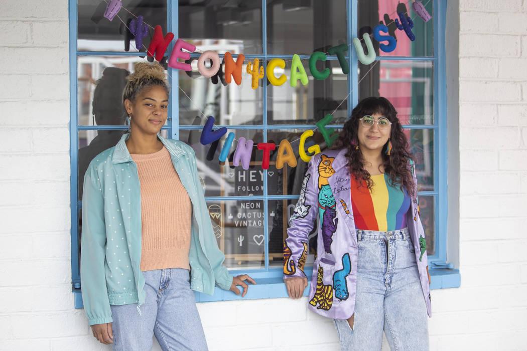 Alicia Avery, left, and Negar Hosseini-Nasab pose for a portrait outside their shop, Neon Cactu ...