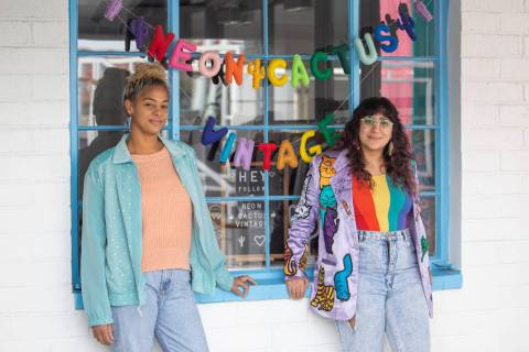 Alicia Avery, left, and Negar Hosseini-Nasab pose for a portrait outside their shop, Neon Cactu ...