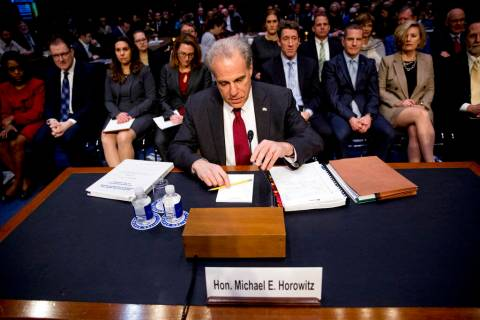 Department of Justice Inspector General Michael Horowitz arrives for a Senate Judiciary Committ ...