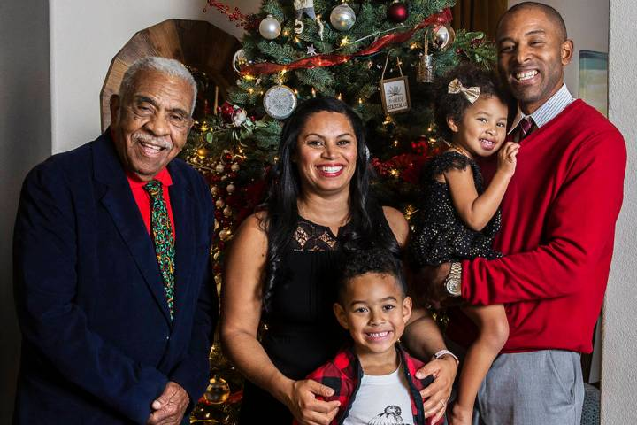 Dr. Sheldon Jacobs, right, daughter Arianna, 3, son Jayden, 6, wife Nicole and grandfather Winf ...