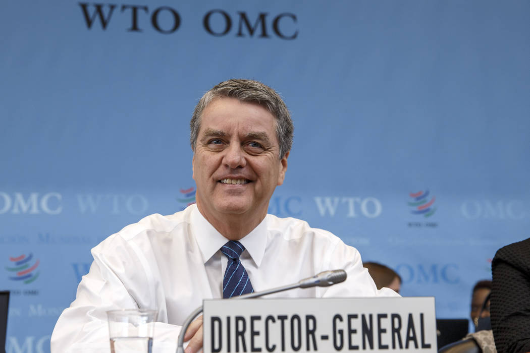 Brazilian Roberto Azevedo, Director General of the World Trade Organization, WTO, waits the ope ...