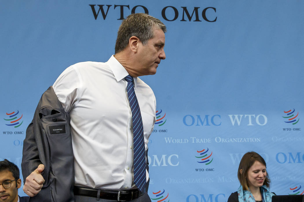 Brazilian Roberto Azevedo, Director General of the World Trade Organization, WTO, arrives for t ...