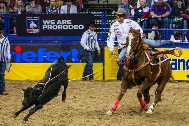 Shad Mayfield of of Clovis, N.M., eyes a roped calf in Tie-Down Roping during the sixth go roun ...