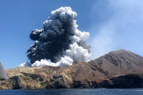 In this Monday, Dec. 9, 2019, photo provided by Lillani Hopkins, shows the eruption of the volc ...