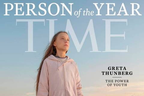 This photo provided by Time magazine shows Greta Thunberg, who has been named Time's youngest ...